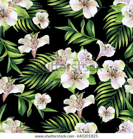Seamless pattern tropical white flowers on stock illustration seamless pattern with tropical white flowers on a black background watercolor hand drawn mightylinksfo