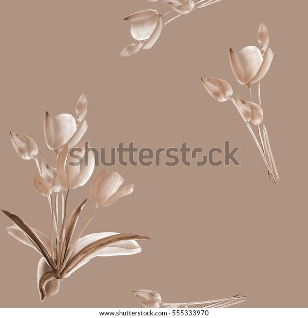 Seamless pattern of tulips with beige flowers on a beige background. Watercolor