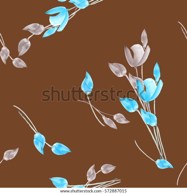 Seamless pattern of tulips with beige and turquoise flowers on a chocolate background. Watercolor