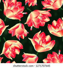 Seamless pattern with tulips flowers. Modern floral pattern for packaging, textile, wallpaper, print, gift wrap, scrapbooking, decoupage, greeting or wedding background.