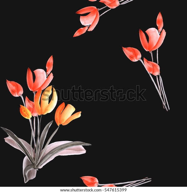 Seamless pattern of tulips with red flowers  on the black background. Watercolor