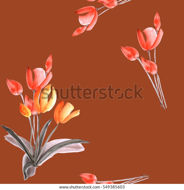 Seamless pattern of tulips with red flowers  on a deep red background. Watercolor