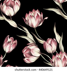 Seamless pattern with tulips. Watercolor illustration.