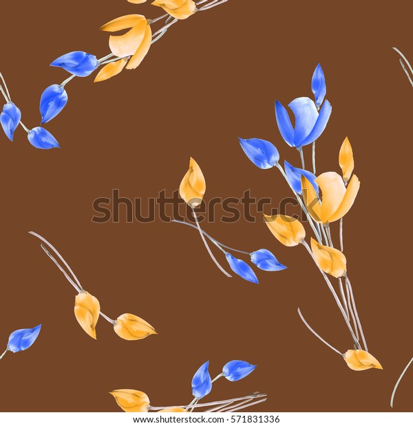 Seamless pattern of tulips with yellow and blue flowers on a chocolate background. Watercolor