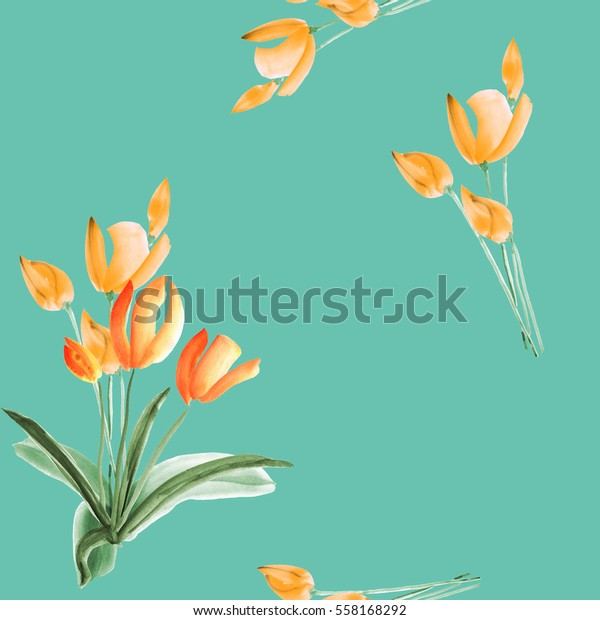 Seamless pattern of tulips with yellow flowers on a turquoise background. Watercolor