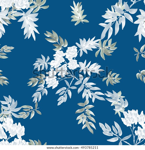 Seamless pattern of two blossoming spring branches with white flowers and gray leaves on a blue background. Watercolor