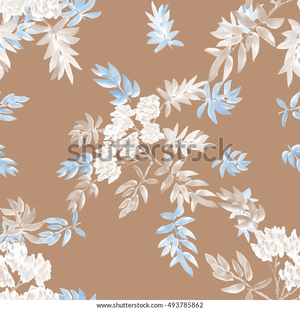 Seamless pattern of two blossoming spring branches with white flowers and gray and light blue leaves on a beige background. Watercolor