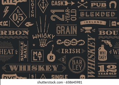 Seamless pattern with types of whiskey and hand drawn lettering for bar, pub, cafe, fest and party. Vintage drawing for placemat, bar menu, t-shirt print and whiskey themes. Illustration