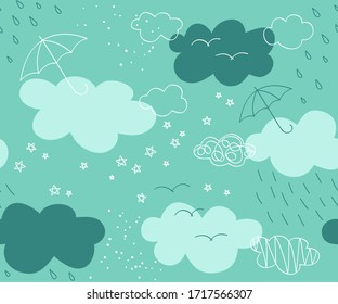 Seamless pattern umbrellas and clouds. Background for fabric, textile, wallpaper, posters, gift wrapping paper, napkins, tablecloths, pajamas. Print for kids, baby, children