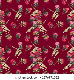 Seamless pattern. Unicorn skul, butterflies and Protea flowers. Botanical illustration of exotic flowers. Trend print. Great for fabric, invitation, Halloween cards and more.