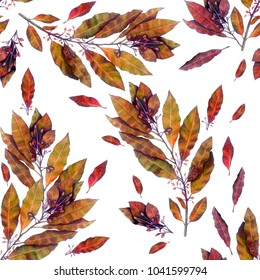 Seamless pattern from a variation of a watercolor illustration of a laurel branch