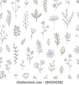Seamless pattern with varied simple small flowers, plants and leaves isolated on white background. Watercolor hand drawn illustration