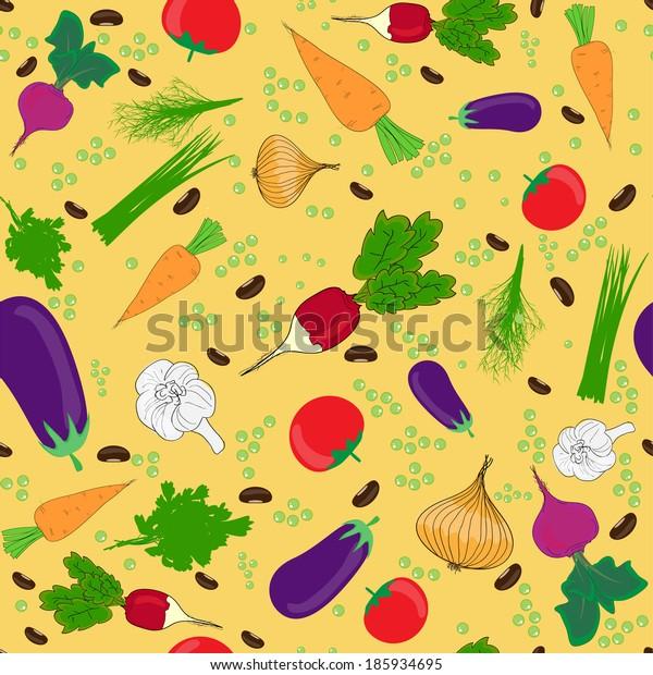 seamless pattern  , vegetables illustrations
