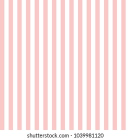 Seamless pattern of vertical candy pink and white stripes.
