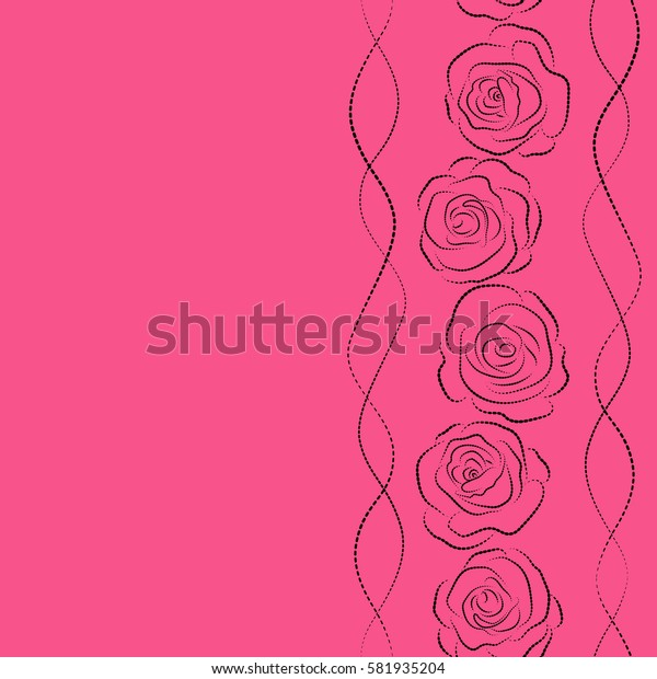 Seamless pattern with vertical stylized black and pink roses silhouette. Vintage floral background with copy space (place for your text). Can be use as digital paper, fills or print off onto fabric.