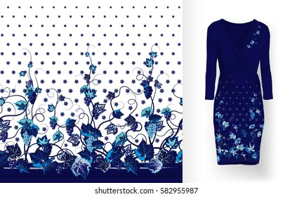 seamless pattern of vines with leaves, flowers and berries on classic women's dress mockup. Hand-drawn ornate pattern with an example of application.