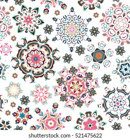 Seamless pattern. Vintage decorative elements. Hand drawn background. Islam, Arabic, Indian, ottoman motifs. Perfect for printing on fabric or paper. Pastel blue pink beige on white