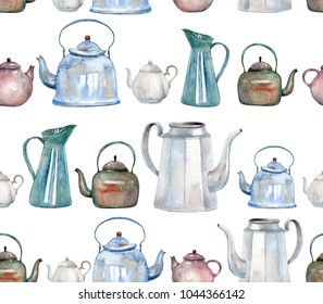 A seamless pattern with vintage kettles and teapots painted with watercolor. Tea time background for fabric, kitchen wallpapers, gift wrapping paper, scrapbooking. Isolated on white.