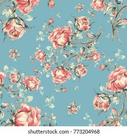 Seamless pattern of vintage roses