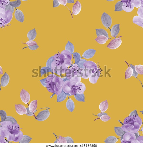 Seamless pattern of violet flowers and branches on a deep yellow background. Watercolor