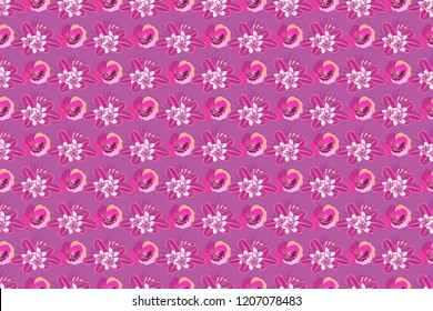 Seamless pattern in violet, magenta and pink colors. Hand drawn abstract ditsy flowers. Raster cute floral pattern in the small flowers.