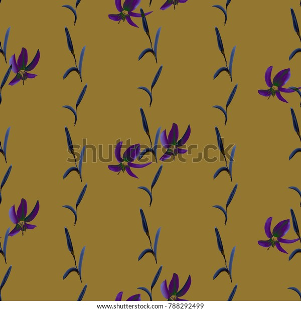 Seamless pattern of violet small flowers and a blue vertical plants on a deep yellow background. Watercolor