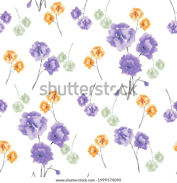 Seamless pattern of violet, yellow, green flowers and bouquets on a white background. Watercolor