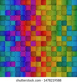 Seamless pattern of vivid colorful cubes. Abstract geometric pattern. Computer generated tileable background. 3D render illustration