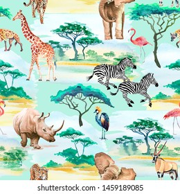 Seamless pattern watercolor African animals and birds. Illustration giraffe, elephant, zebra, rhinoceros, flamingo, leopard.