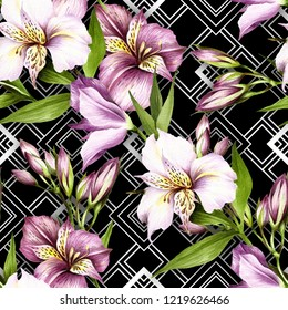 Seamless pattern with watercolor alstroemeria flowers on abstract white black geometric background.