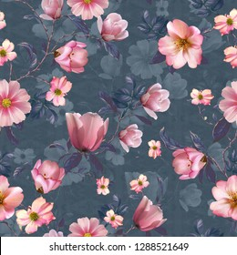 Seamless pattern with watercolor alstroemeria flowers on abstract white black geometric background. - Illustration1