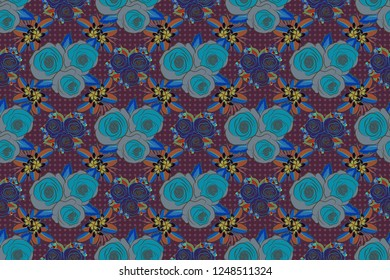 Seamless pattern. Watercolor background. Brown, blue and violet abstract flowers.
