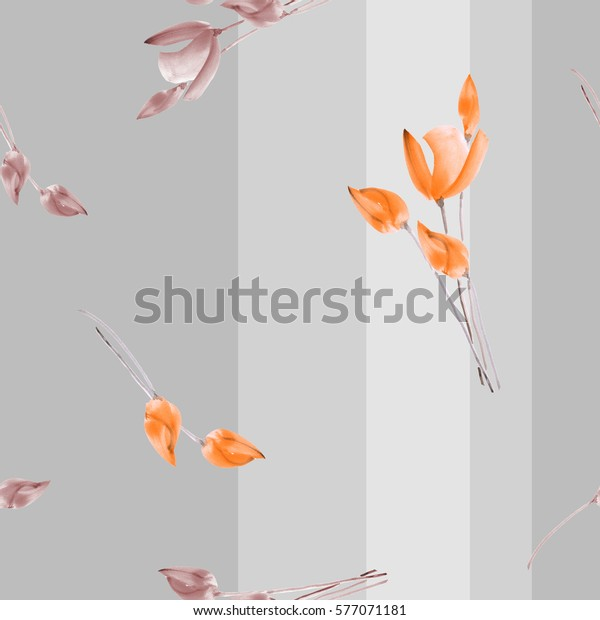 Seamless pattern watercolor of beige and orange tulips on a gray background with vertical stripes