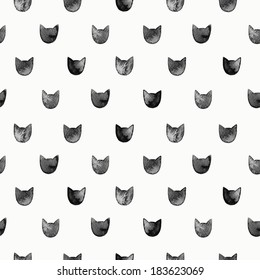 Seamless pattern with watercolor black cats