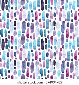 Seamless Pattern of Watercolor Blue, Deep Violet and Pink Splashes