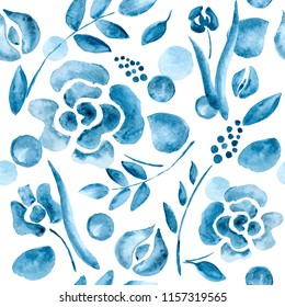 seamless pattern with watercolor blue flowers on white background. Delicate background in blue colors.