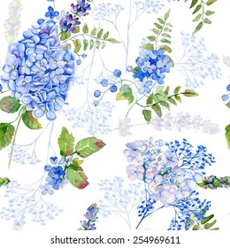 Seamless pattern. Watercolor blue hydrangea, lavender, currant. Illustration of flowers. Vintage. Can be used for gift wrapping paper, birthday, mother's day. Gentle, cute background.