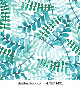 Seamless Pattern with Watercolor Blue Leaves and Green Herbs