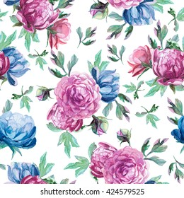 Seamless pattern of watercolor blue and red peonies and leaves on white background