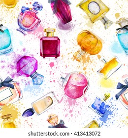 seamless pattern with watercolor bottles of  perfumes