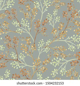 Seamless pattern with watercolor branches. illustration isolated on gray background