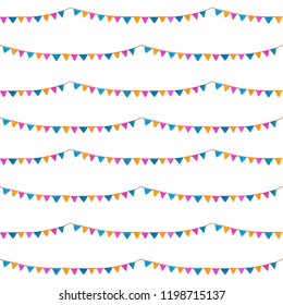 Seamless pattern. Watercolor bright flags garlands. Party, kids party or wedding decor elements. For design, prints, background, cards, greeting, invitation, birthday poster.