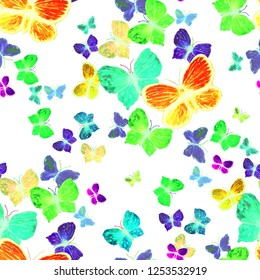 Seamless pattern with watercolor butterflies. Hand drawn. Surface design.