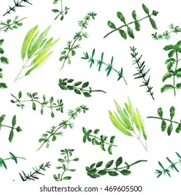 Seamless pattern with watercolor collection of herbs de Provence. Rosemary, basil, thyme, sage, peppermint, summer savory, marjoram, oregano elements. Chaotic layout.