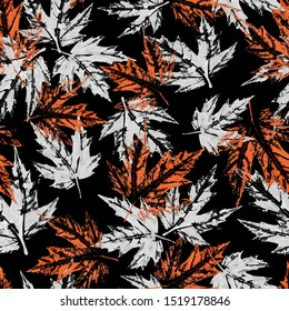 Seamless pattern watercolor with  colored maple leaves, black background, for postcards, frames, invitations, greeting cards, clothes, paper, material, holiday, wallpaper, textile, autumn