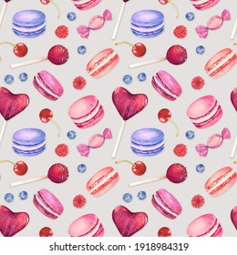 Seamless pattern with watercolor colorful macaroons and berries isolated on gray background. Hand drawn watercolor illustration.