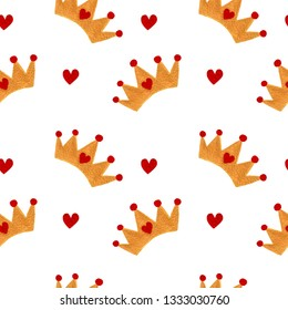 Seamless pattern with watercolor crown and red heart. Royal nursery seamless pattern.