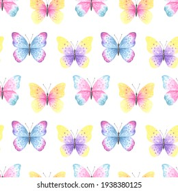 Seamless pattern with watercolor cute butterflies on white background. Perfect for textile design and wrapping paper.