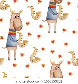 Seamless pattern. Watercolor, cute cartoon deer with saxophone, Valentine's day greeting card. Funny poster isolated on white background. Hand drawing for your design.
