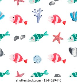 Seamless pattern with watercolor cute fish, starfish, shells and corals . isolated elements for kids cute design fabric, print and etc. . illustration isolated on white background